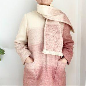 Vtg Pink Cream 100% Wool Hand Loom Scarf Coat 8